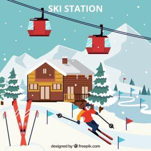 Esquís y cabaña de madera